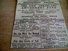 62-9 ephemera 1931 margate advert dreamland cinema roasting a whole sheep