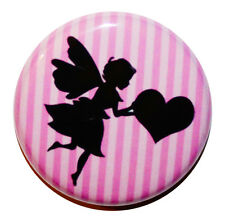 """1"""" (25mm) Pink Fairy & Heart Sweet Button Badge Pin - MADE IN UK"""