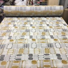 TOP QUALITY RETRO GEOMETRIC GOLD GREY PATTERNED UPHOLSTERY FABRIC MATERIAL SALE!