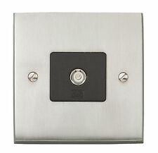 MK Alloy Brushed Nickel TV / FM Single Aerial Outlet Plate Socket K5320 BNI B