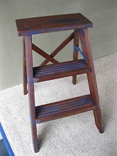 Vintage Primitive 3-Step Stepstool Vintage Wood Stool Ladder, Blue Paint