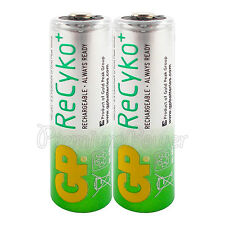2 x GP Rechargeable AA batteries 2000mAh ReCyko 2100 NiMH LR6 HR6 Phones
