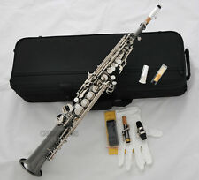 Top Black Nickel Straight Soprano Saxophone Sax High F# 2 Necks With Metal Mouth