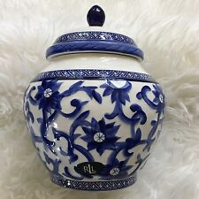 "NEW Ralph Lauren Mandarin Blue Porcelain 9"" Canister Cookie Ginger Jar Floral"
