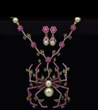NWT Heidi Daus ITSY BITSY SPARKLER Necklace Earrings Set - Spider Halloween Pink