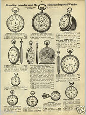 1914 PAPER AD Self Acting Calendar Pocket Watch Alarm Cyma Guinard Chronograph