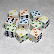 Set of 10 Six Sided 16mm Standard D6 Dice With Multi-Color Pips 99212146