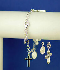 Sterling Silver Guadalupe Virgin Mary Cross Charms with Charm Bracelet