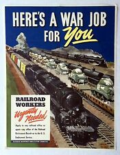 Authentic 1940s WWII Poster Railroad Workers Urgently Needed A War Job for You