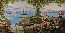 "46""X24"" WALL DECOR NEEDLEPOINT WOVEN PAINTING TAPESTRY: PLACE BY MEDITERRANEAN"