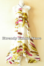 2D93 - Versatile Silk Multi Wear Scarf Long Maxi Halter Dress, Maternity