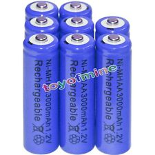 8x AA battery batteries Bulk Nickel Hydride Rechargeable NI-MH 3000mAh 1.2V Blue