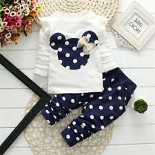 2pcs Baby Toddler Girls Tops+Pants Outfits&Set Cotton Clothes Polka Dot Blue