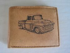 """Men's Tan Bi-fold Leather Wallet-FREE """"1955,56,57 Chevy Truck"""" Image~Great Gift!"""