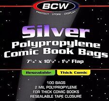 100 Silver Resealable THICK Comic Bags and Boards BCW Archival Book Storage