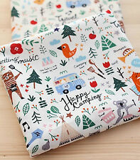 Camping story 100% Cotton Remnant  fabric 110 x 22.5cm animals Quilting off cut