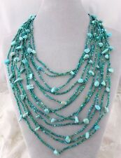 12 Strand Green Czech Glass Turquoise Chip Necklace Magnetic Clasp Jewelry NEW