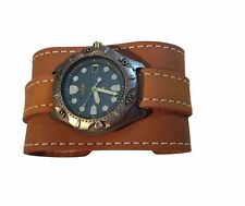 "2""WIDE NEWPORT BROWN LEATHER WATCHBAND,WATCH STRAP,CUFF,WRISTBAND"