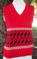 1960s Vintage Abstract Red V Neck Sweater Vest Womens Small Sm S Abstract Atomic
