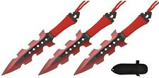 "3Pc 7.5"" Ninja Tactical Combat RED Kunai Throwing Knife Set w Sheath Hunting"