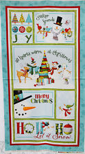 Let It Snow Blue Snowman Children's Christmas Wall Hanging Fabric Panel 3290 24