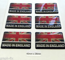 Made In England 6 X Printed Dome Gel Sticker