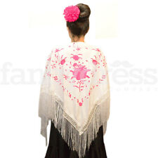 Spanish Flamenco Shawl White Pink Beautiful Traditional Fringe Embroidered NEW