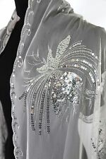 B71 Dragonfly Metallic Sequin Silver Boutique Scalloped Shawl Scarf $145