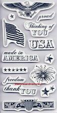 CLOUD 9 Rubber Cling Stamps AMERICA 70780  USA FREEDOM FLAG PROUD FIREWORKS