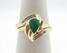 Estate Pear Natural Green Emerald Diamonds Solid 10k Yellow Gold Ring