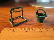 Mini Saddle Holder Rack Pail Horse Tack Dollhouse Size Toy Farm Parts for Doll