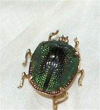GENUINE EGYPTIAN SCARAB BEETLE STICK PIN VICTORIAN ROSE  GOLD ANTIQUE