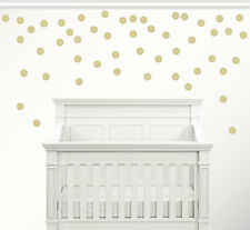 Set of 100 Gold Circle Confetti Polka Dot Wall Decal Metallic Vinyl Decor 2.5""