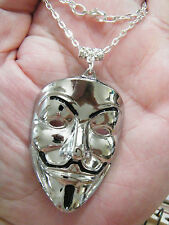 "Vendetta Necklace SILVER Tone Drama BIG V MASK Pendant 23.5"" Silver Chain NEW!"