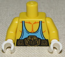 LEGO NEW YELLOW TORSO WEIGHT LIFTER BODY BUILDER MUSCLES AND WHITE HANDS