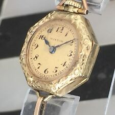 Antique Glycine Winton 14K Solid Gold Case Art Deco 15 Jewels Ladies Watch