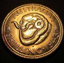 1943 S Australia 1/- One Shilling #843S-S-2 =ABOUT UNCIRCULATED=