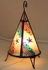Unique Moroccan table lamp.Cream with purple henna. Ethnic lamp