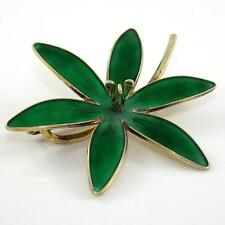 Vtg Hroar Prydz Norway Sterling Silver Large Green Enamel Flower Pin Brooch