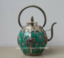 Big Porcelain Glaze Copper Chinese Handwork Old Carving Dragon Phoenix Tea Pot