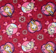 FROZEN SISTERS MINKY VELOUR FRAMED TOSS FABRIC PINK