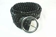 BLACK FAUX LEATHER OVERSIZE BRAIDED BELT WITH BOLD CIRCLE CLASP (UW4)