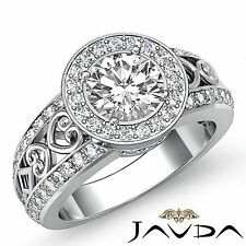 Round Cut Diamond GIA F VS2 18k White Gold Halo Pave Set Engagement Ring 2.25ct