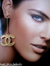 CHANEL Gold XL Dangle CC Logo Long Drop Chain Earrings Authentic NWT