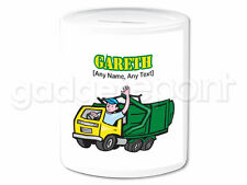 Personalised Gift Garbage Truck Money Box Binman Refuse Collection Work Present