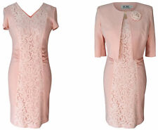 PEACH PINK BLUSH MOTHER OF THE BRIDE GROOM OUTFIT 2 PIECE JACKET DRESS SIZE 14