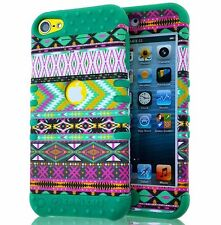 iPod Touch 5th 6th Gen -HARD&SOFT RUBBER HYBRID SKIN CASE TURQUOISE GREEN TRIBAL