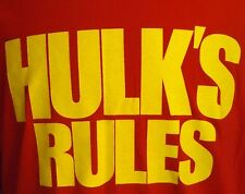 WWE Wrestling Hulk's Rules Logo Men's Red Shirt Large WWF nWo WCW TNA