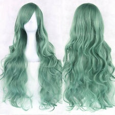 Women Lady Anime Long Curly Synthetic Hair Party Cosplay Full Wig Mint Green