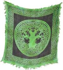 "18""x18"" Fringed Green Tree of Life Altar Cloth!  pagan wicca witch"